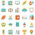 vetor · escolas · linha · ícones · isolado · gradientes - foto stock © smeagorl