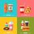 barbecue · étel · színes · ikonok · ikon · szett · téglalap - stock fotó © smeagorl