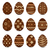 easter set chocolate ornate eggs with shadows isolated on white stock photo © smeagorl