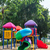 赤 · 遊び場 · スライド · 空っぽ · 木材 · 夏 - ストックフォト © smuay