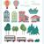 Set flat landscape elements with buildings stock photo © softulka
