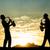 zenészek · naplemente · illusztráció · sziluett · természet · jókedv - stock fotó © sognolucido