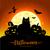 halloween · volle · maan · heks · kat · illustratie · hoed - stockfoto © sonya_illustrations