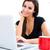 jonge · mooie · vrouw · vergadering · sofa · laptop · home - stockfoto © spectral