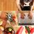 nő · laptopot · használ · főzés · fiatal · nő · ház · internet - stock fotó © spectral