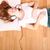 menina · adolescente · escuta · música · feliz · sofá · casa - foto stock © spectral