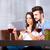 casal · vidro · vinho · casa · festa · jantar - foto stock © spectral