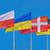 vlaggen · verschillend · landen · vlaggestok · blauwe · hemel · vlag - stockfoto © srnr