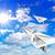 repülőgép · szárny · felhős · viharos · felhők · égbolt - stock fotó © srnr