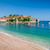 Sveti Stefan island and paradise beach in Montenegro stock photo © Steffus