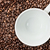 coffee beans background with empty white coffee cup stock photo © stephaniefrey