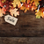 fall leaves and sales tag over wooden background stock photo © stephaniefrey