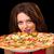 sevimli · kadın · pizza · beyaz · gıda - stok fotoğraf © stepstock