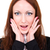 surpreendido · mulher · atraente · mãos · boca · branco · feminino - foto stock © stepstock