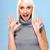 verwonderd · jonge · vrouw · Blauw · handen · vrouwen · model - stockfoto © stepstock