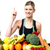 pretty slim girl with fruits and vegetables stock photo © stockyimages