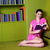 jovem · feminino · leitura · livro · sofá - foto stock © stockyimages
