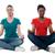 barátok · meditál · lótusz · pozició · női · park - stock fotó © stockyimages