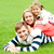 husband wife and child piled on each other stock photo © stockyimages