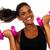 nő · súlyzók · test · profil · fiatal · nő · kar - stock fotó © stockyimages