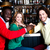 three friends in bar enjoying beer stock photo © stockyimages