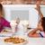 pizza · restoran · sevimli · kızlar - stok fotoğraf © stockyimages