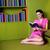 довольно · Lady · чтение · книга · фото · молодые - Сток-фото © stockyimages