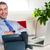 empresário · estação · de · trabalho · relaxante · dobrado · brasão · telefone - foto stock © stockyimages