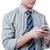 homem · de · negócios · leitura · sms · celular · bonito · feliz - foto stock © stockyimages