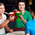 three friends raises ice cream cup stock photo © stockyimages