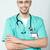 médico · enfermeira · desgaste · estetoscópio · médico · do · sexo · masculino · olho - foto stock © stockyimages