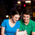 casal · digital · comprimido · restaurante · romântico · internet - foto stock © stockyimages
