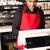 garçom · cliente · em · pé · contrariar · restaurante · retrato - foto stock © stockyimages