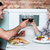 bonitinho · sorridente · casal · vinho · branco · refeição - foto stock © stockyimages