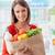 kobieta · spożywczy · worek · uśmiechnięty · młoda · kobieta - zdjęcia stock © stokkete