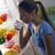 bella · giovane · ragazza · bere · latte · vetro · divertimento - foto d'archivio © stokkete