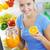 sok · pomarańczowy · piękna · młoda · kobieta · lodówce · dziewczyna · owoców - zdjęcia stock © stokkete