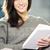 Cute · женщину · чтение · журнала · гостиной · лице - Сток-фото © stokkete
