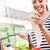 olcsó · élelmiszerbolt · árak · mosolyog · fiatal · nő · tart - stock fotó © stokkete