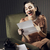 jeune · femme · lecture · lettre · séance · fauteuil · femme - photo stock © stokkete