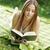 gyönyörű · fiatal · nő · olvas · könyv · park · portré - stock fotó © stokkete