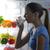 kobieta · pitnej · mleka · młoda · kobieta · lodówce · noc - zdjęcia stock © stokkete