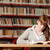 小さな · 学生 · ライブラリ · 肖像 · 深刻 · 読む - ストックフォト © stokkete
