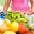 completo · carrinho · de · compras · mulher · supermercado · empurrando · frutas · frescas - foto stock © stokkete