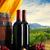 vino · bottiglie · uve · tavolo · in · legno · top · view - foto d'archivio © stokkete