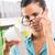 nő · szemüveg · nyugta · fekete · hosszú · élelmiszer - stock fotó © stokkete