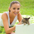 женщину · кошки · лет · парка · счастливым · Cute - Сток-фото © stokkete