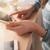 vrouw · cafe · touchpad · telefoon · jonge · vrouw · telefoongesprek - stockfoto © stokkete
