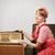 jonge · vrouw · luisteren · naar · muziek · hoofdtelefoon · home · glas · keuken - stockfoto © stokkete