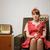 gospodyni · domowa · portret · ironiczny · retro · posiedzenia · fotel - zdjęcia stock © stokkete